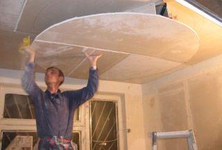 Фото процесса Монтаж потолка из гипсокартона в Екатеринбурге